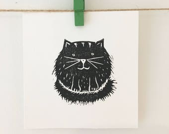 Mini Cat Lino Print