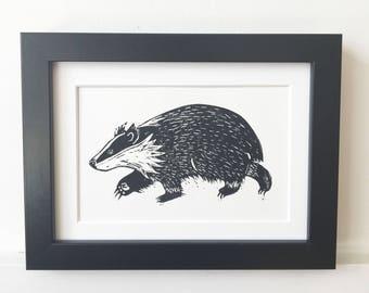 Badger Lino Print