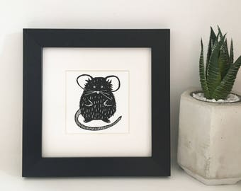 Mini Mouse Lino Print - Original Print
