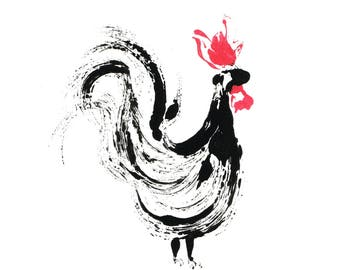 Cockerel Illustration Giclee Print