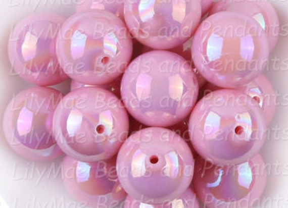 Neon Pink 20 Count 20mm Chunky Bubblegum Acrylic Beads