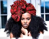 Ankara Headwrap, Red Headwrap, Turban Wax, Women's Headwrap, Kids Headwrap