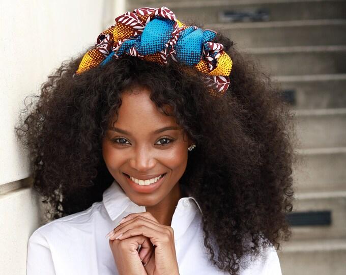 Ankara Headwrap, Turban Wax, Blue and Yellow Headwrap, Women's Scarf