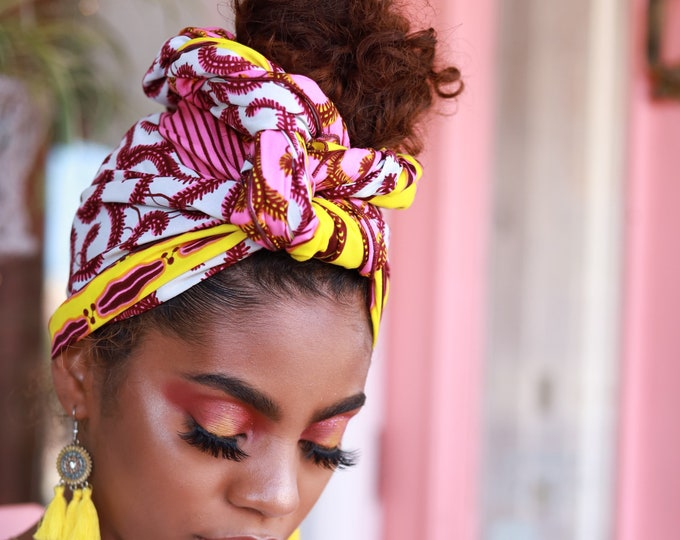 Turban Wax, Pink and Yellow Headwrap, African Print Headwrap, African Turban, Women's Gift Idea