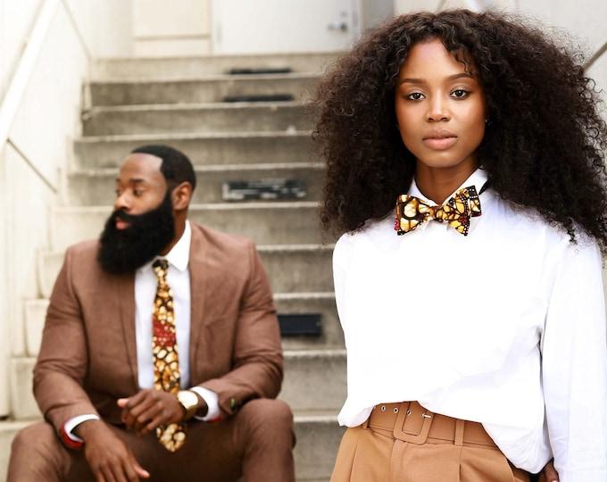 African Fabric Bowtie, Wedding Bowtie, Gold Bowtie, Men's Tie