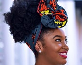 Turban wax, Ankara Headwrap, Orange Headwrap, Women's Headwrap