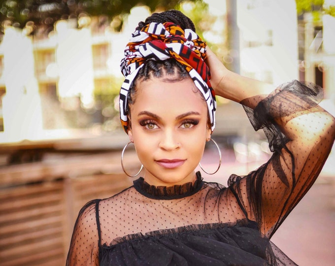 Turban Wax, African Print Headwrap, Black and Maroon Headwrap, Women's Turban