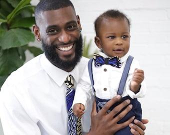 African Print Necktie, Men's Tie, Blue Tie, Wedding Tie, Men's Gifts