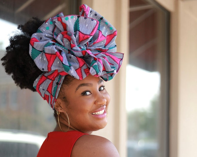 African Print Headwrap, Turban Wax, Pink Headwrap, Hair Tie