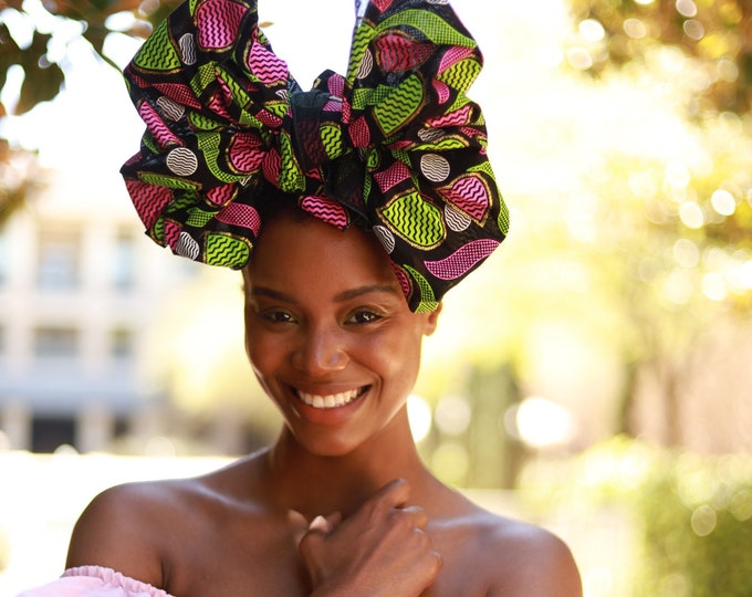 Turban Wax, African Fabric Headwrap, Pink and Green Headwrap
