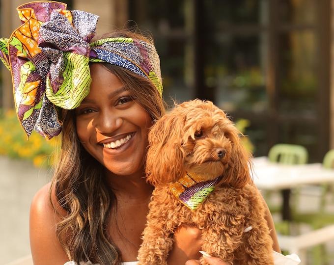 Turban Wrap, Pet Gifts, Headwrap, Dog Bandana, Green Headwrap, Ankara Headwrap, Womens Headwrap, Green Bandana, Dog Scarf