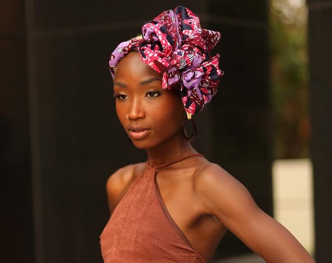 Turban Wax, African Print Headwrap, Purple Headwrap, Women's Scarf, Kids Headwrap, Ankara Print, Scarf