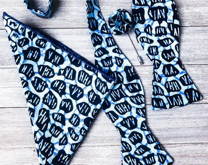 Ankara bowtie, African bowtie, Wedding bowtie, blue bowtie, Groomsmen bowtie
