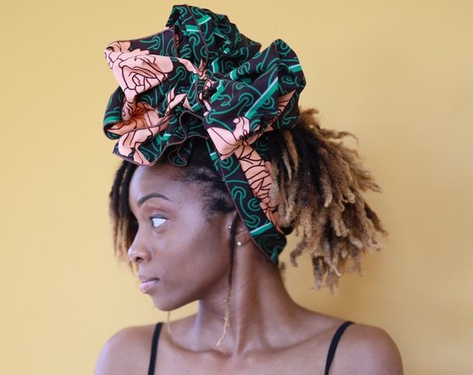 Turban Wax, African Fabric Headwrap, African Headwrap, Women's Headwrap, Green Headwrap