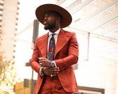 African Print Necktie, Men's Tie, Blue and Red Tie, Christmas Gifts For Men, Necktie Groomsmen Gift