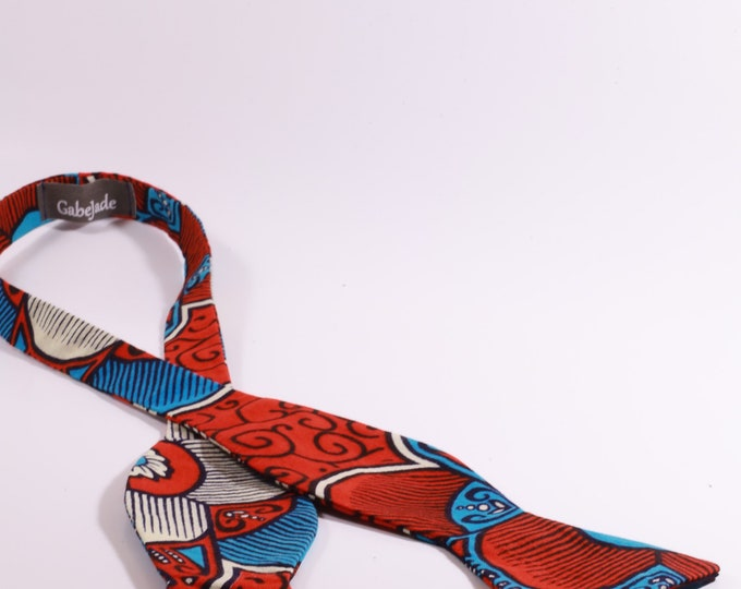 African Print Bowtie, Red and Blue Bowtie, Wedding Tie, Men's Gifts