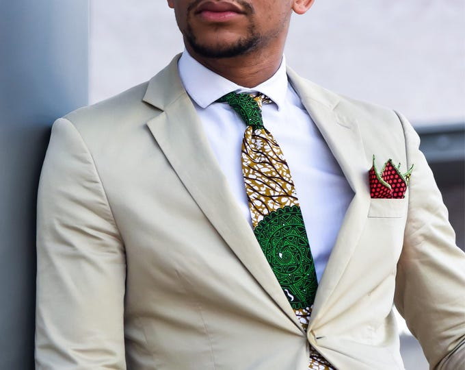 Ankara necktie, Wedding necktie, African necktie, Green Tie