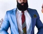 Ankara Necktie, African Fabric Necktie, Maroon Necktie, Wedding Necktie