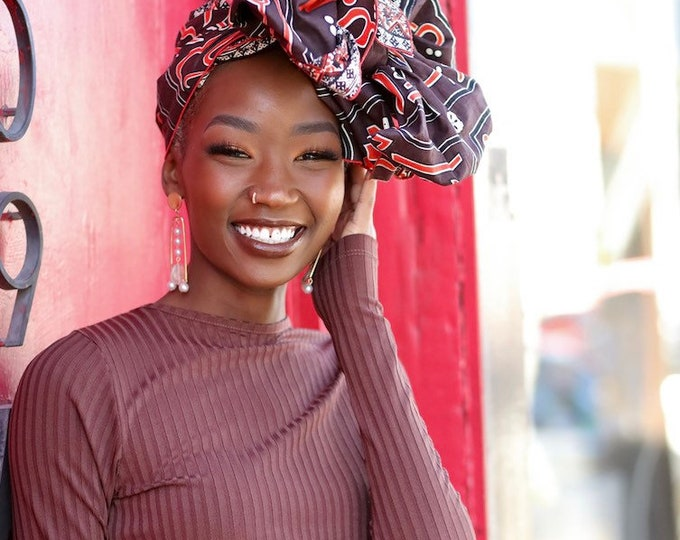 Turban Wax, African Headwrap, Brown Headwrap, Women's Scarf, Gifts for Her