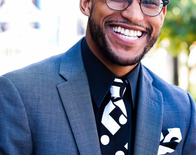 African Necktie, Black necktie, Wedding necktie, Groomsmen necktie