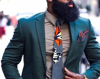 Ankara Necktie, Wedding Necktie, Orange Necktie, Groomsmen