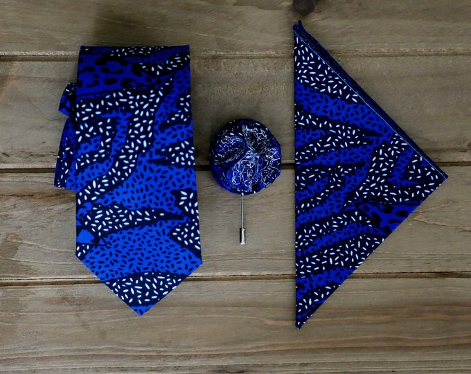 African Print Necktie, Blue Necktie, Wax Print Tie, Something Blue, Wedding Tie, Father's Day Gifts