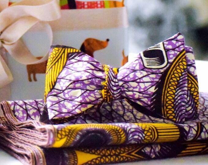 Ankara Bowtie, Purple Bowtie, Wedding Bowtie, Yellow  Bowtie