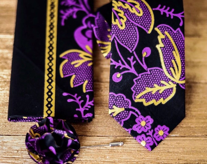 Ankara Necktie, Purple and Gold Necktie, African Fabric Necktie
