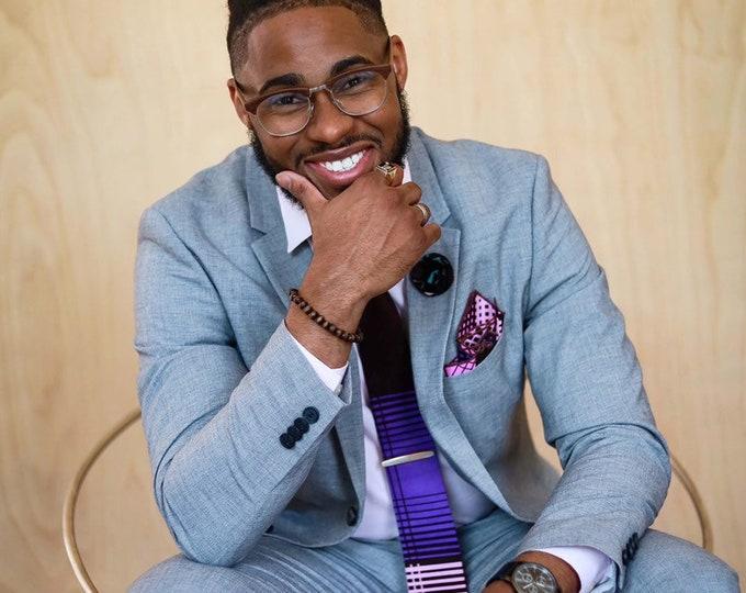 Dark Lavender Necktie, Pink Necktie, African Print, Wedding Necktie, Groomsmen Tie, Necktie for Men