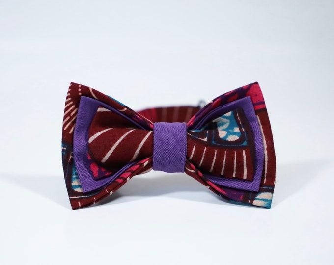 Ankara Print Bowtie, Pink and Purple Bowtie, Pre-Tied Bowtie