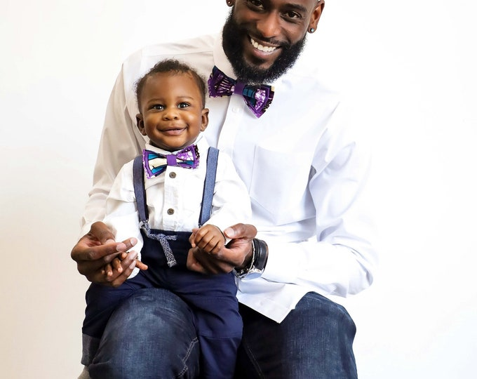 African Print Bow tie, Purple Bow tie, Daddy-Son Outfits, Gifts For Men, Pre-Tied Bowtie