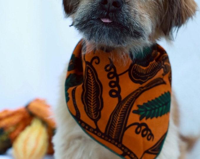 African Print Dog Bandana. Orange and Green Pet Neckwear, Pet Bandana, Pet Accessories