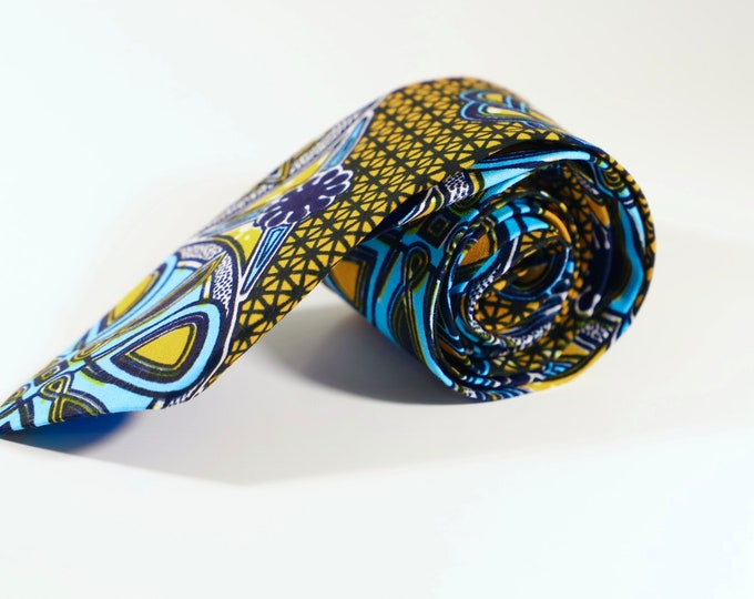 African Print Necktie, Orange and Blue Tie, Wedding Tie