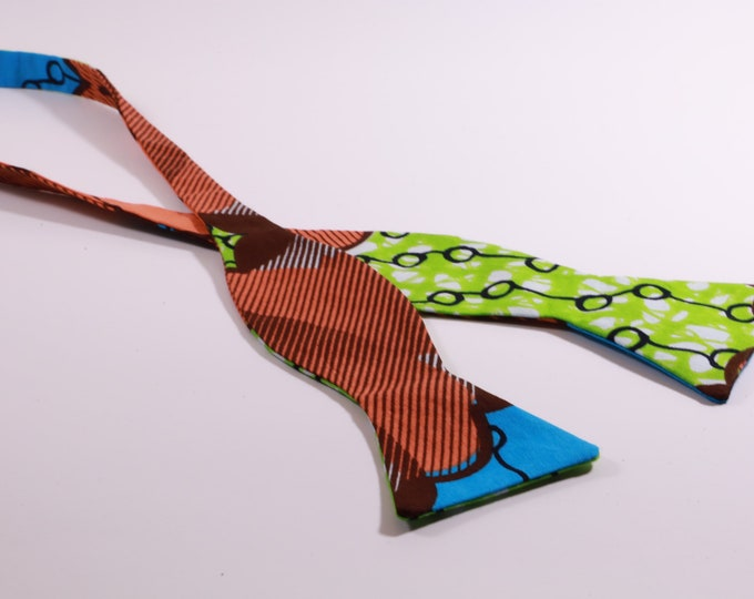 African Wax Tie, Bowtie for Men, Wedding Tie, Groom's Accessories
