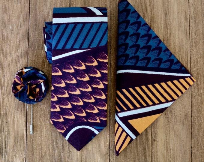 African Fabric Necktie, Ankara, Wax Necktie, Wedding Necktie