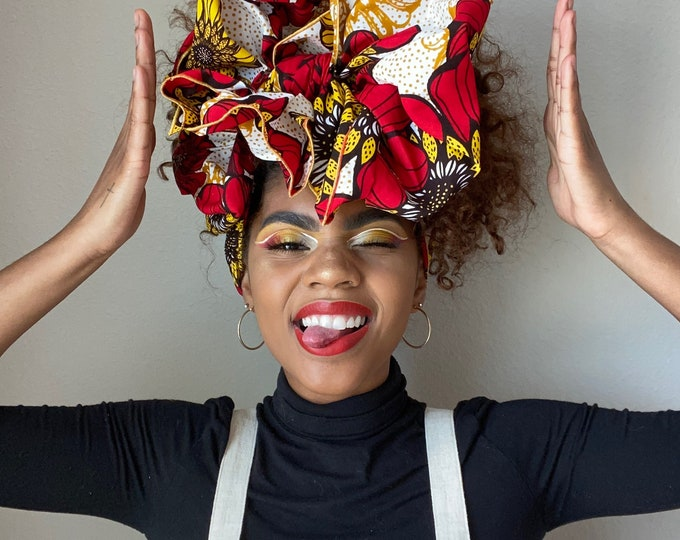 Turban Wax, Red and Yellow Turban, Headwrap, Scarf, Mother's Day Gifts