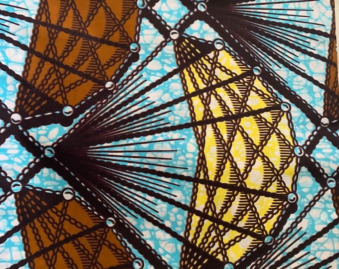 Turban Wax, Blue and Brown Headwrap, Women's Turban, African Print Headwrap