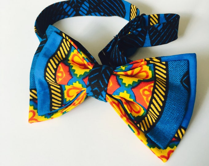Anakara bow tie, African fabric bow tie, Blue bow tie