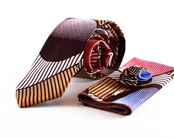African Fabric Necktie, Brown and Tan Tie, Wedding Tie, Valentine's Day Gift