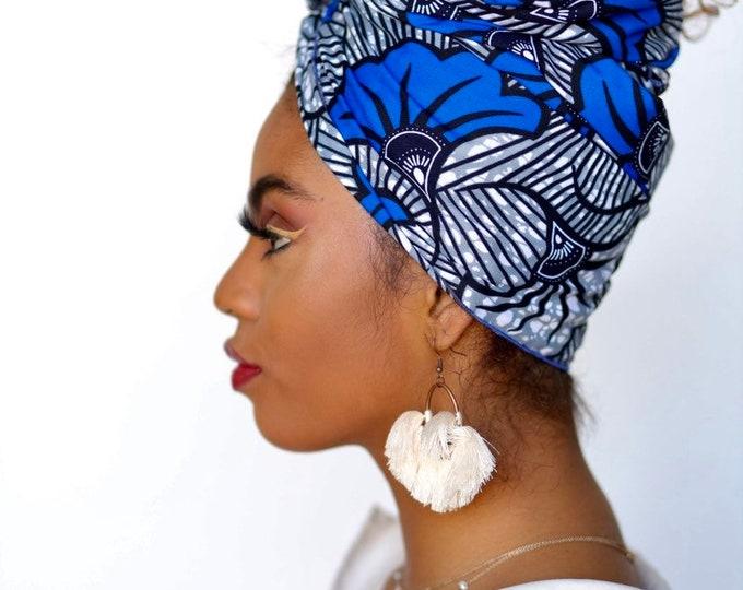 Turban Wax, Ankara Headwrap, Blue and Gray Headwrap, Women's Headwrap