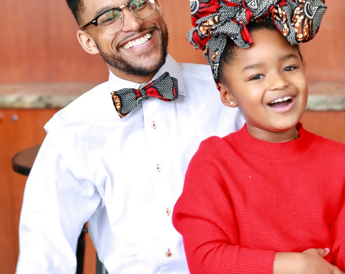 Turban Wax, African Print Headwrap, African Print Bowtie, Daddy-Daughter Outfit, Matching Accessories