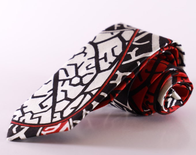African Necktie, Ankara Tie, Wedding Tie, Black and White Tie