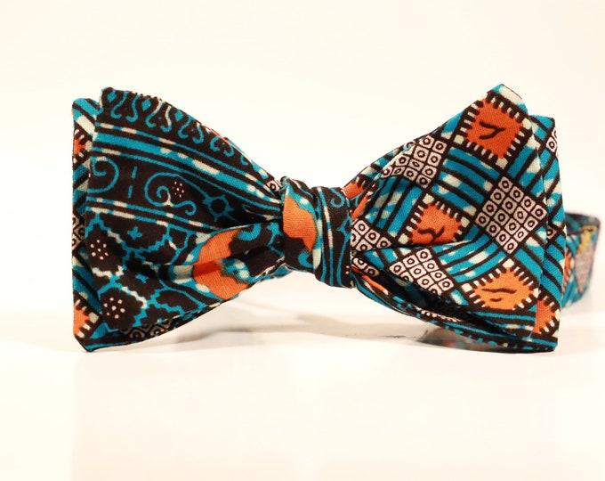 African Bowtie, Orange Bowtie, Wedding Bowtie, Self-Tie Bowtie