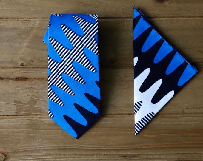 African Print Necktie, Blue Necktie, Wedding Necktie, Groomsmen Tie