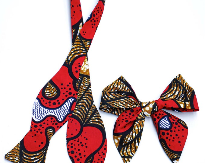 African Print Bowtie and Hair Bow, Daddy-Daughter Matching Accessories, Turban Wax, Father's Day Gifts, Men's Bow tie, Gifts For Men