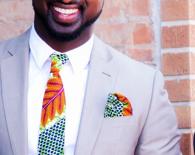 Ankara Necktie, Wedding Necktie, Green Necktie, Groomsmen Necktie