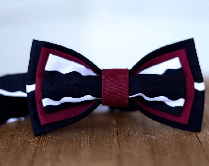 Wax Bow tie, African Fabric Bowtie, Black and White Bowtie