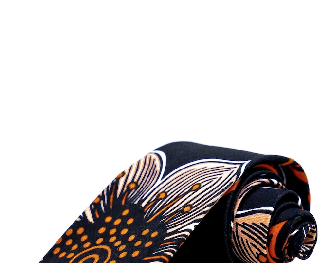African Tie, African Print Tie, Ankara Tie, Flower Tie, Floral Print, Men's Tie, Gifts For Men, Men's Gifts, Black Tie, Burnt Orange Tie