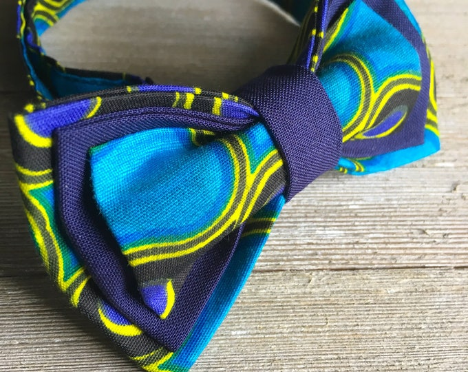 African fabric bow tie, mens bow tie, kids bow tie, blue bow tie, Ankara bow tie, wedding bow tie, groomsmen