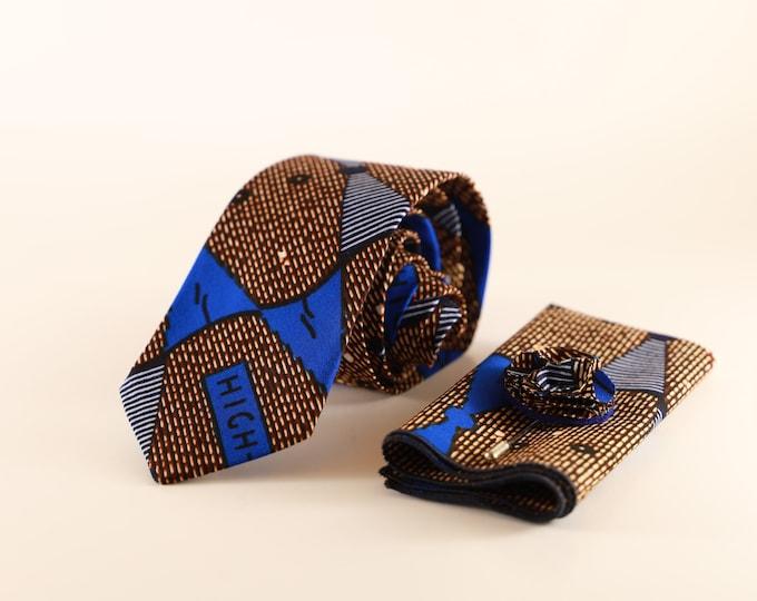 African Fabric Tie, Navy Blue Necktie, Wedding Tie, Groomsmen Tie
